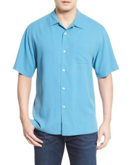 Tommy Bahama | Blue 'catalina Twill' Short Sleeve Silk Camp Shirt for Men | Lyst