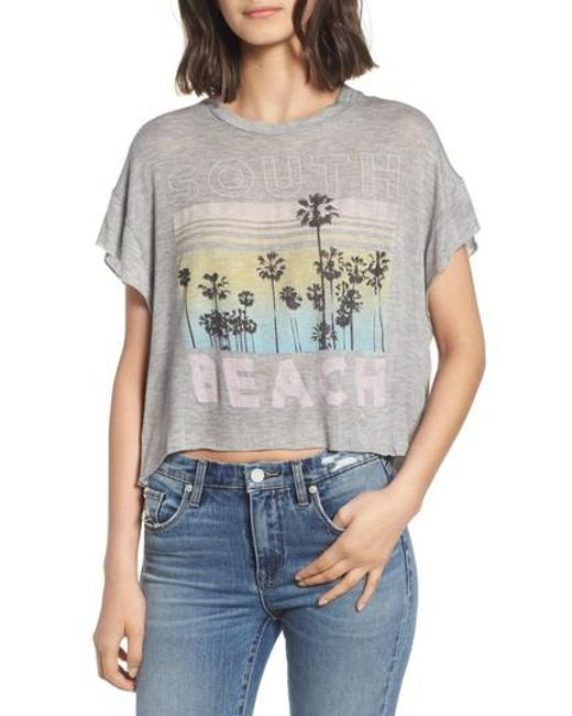 Project Social T - Gray South Beach Boxy Crop Tee - Lyst