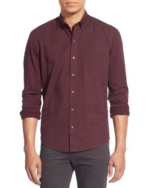 W.r.k. | Purple 'reworkd' Trim Fit Dot Print Mixed Media Sport Shirt for Men | Lyst