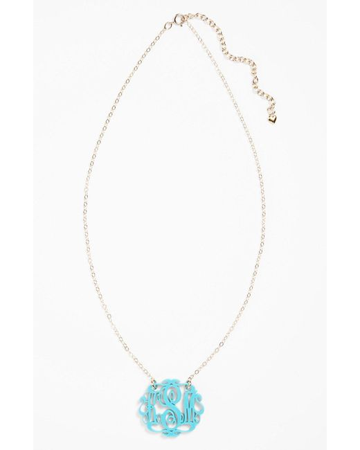 Moon & Lola - Blue Small Oval Personalized Monogram Pendant Necklace (nordstrom Exclusive) - Lyst