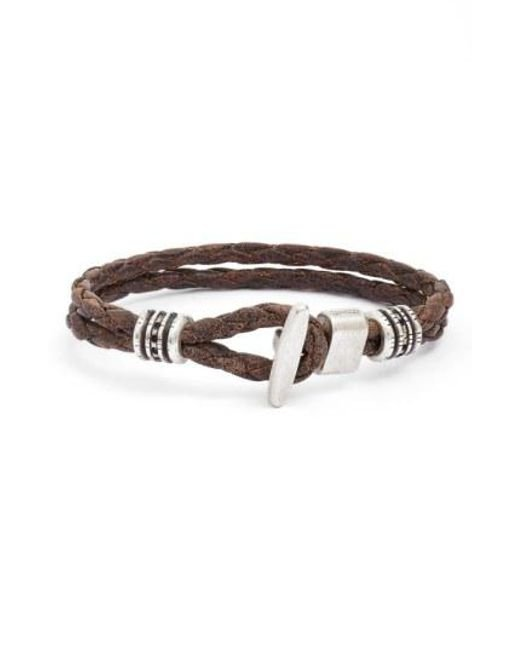 Torino Leather Company - Brown Braided Leather Bracelet for Men - Lyst