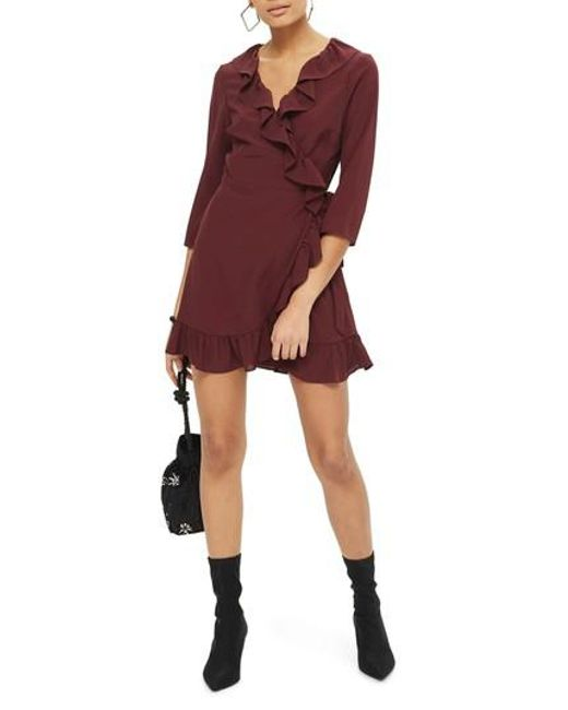 TOPSHOP | Red Ruffle Wrap Dress | Lyst