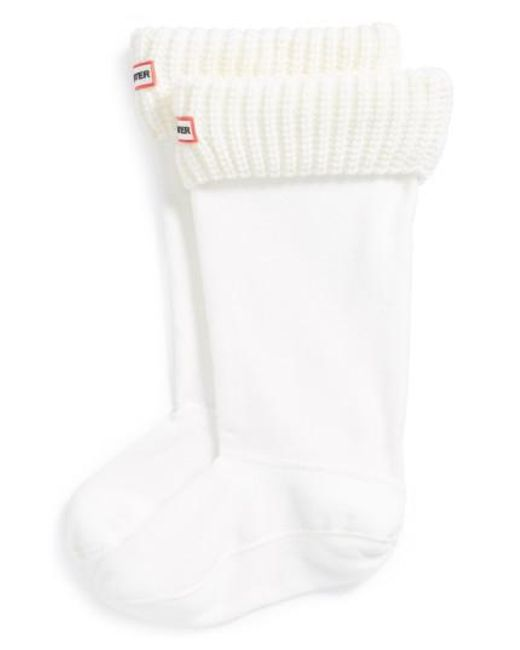 Hunter | White Tall Cardigan Knit Cuff Welly Boot Socks | Lyst