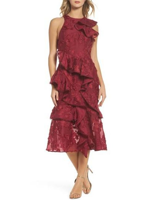 Keepsake - Red Shine Ruffle Lace Tea Length Dress - Lyst