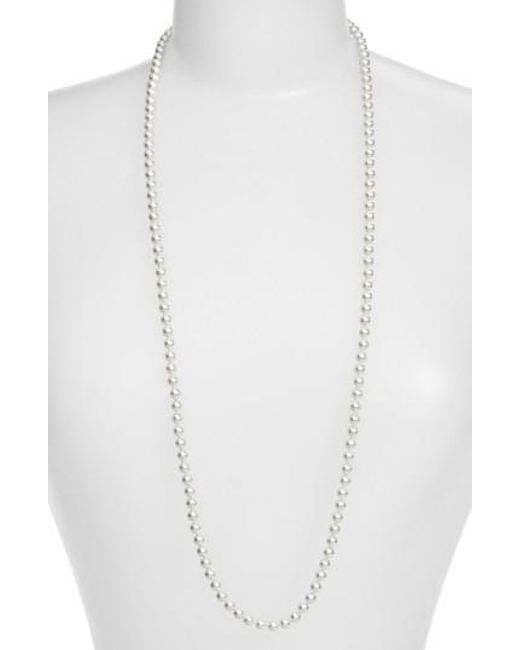 Nadri - Metallic Imitation Pearl Long Necklace - Lyst
