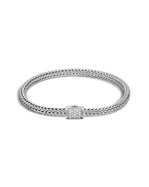 John Hardy | Metallic Extra Small Chain Bracelet With Diamond Clasp | Lyst