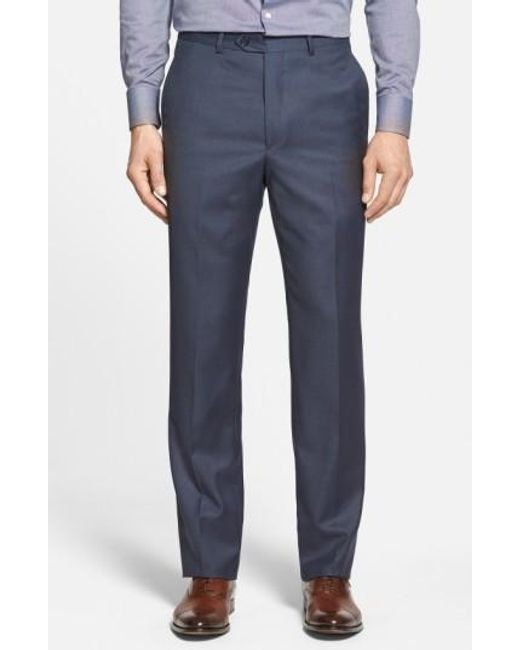 Santorelli | Blue Flat Front Wool Trousers for Men | Lyst