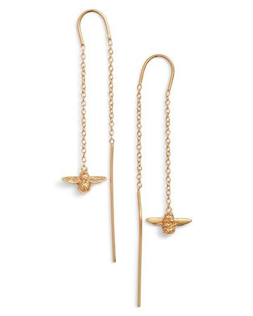 Olivia Burton - Metallic Bee Chain Thread Through Earrings - Lyst