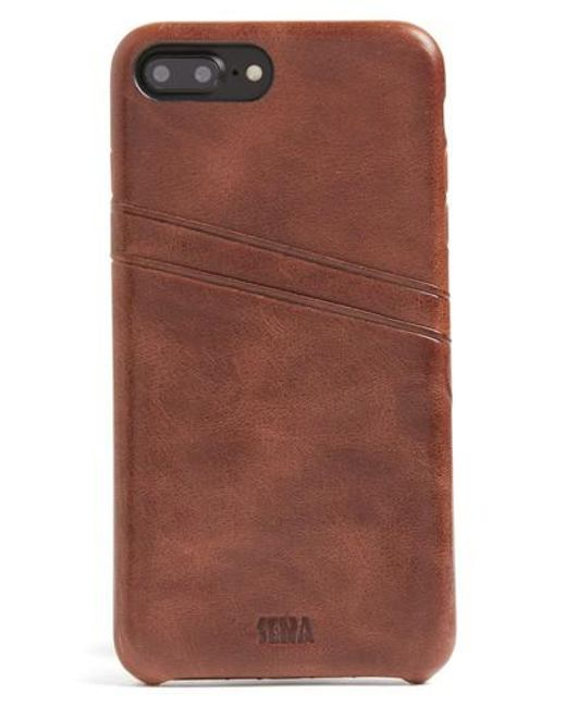 Sena - Brown Iphone 7 Plus Snap-on Wallet Case - Lyst