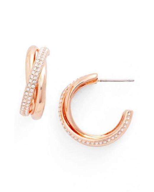 Nadri   Metallic Trinity Pave Hoop Earrings   Lyst