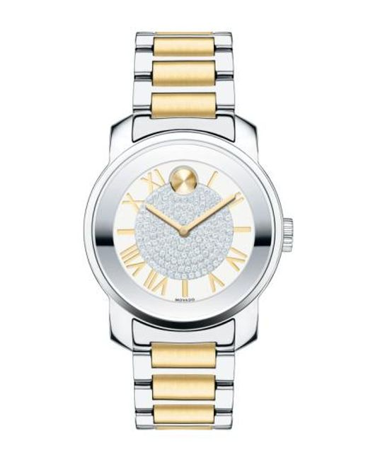 Movado | Metallic 'bold' Crystal Dial Bracelet Watch | Lyst