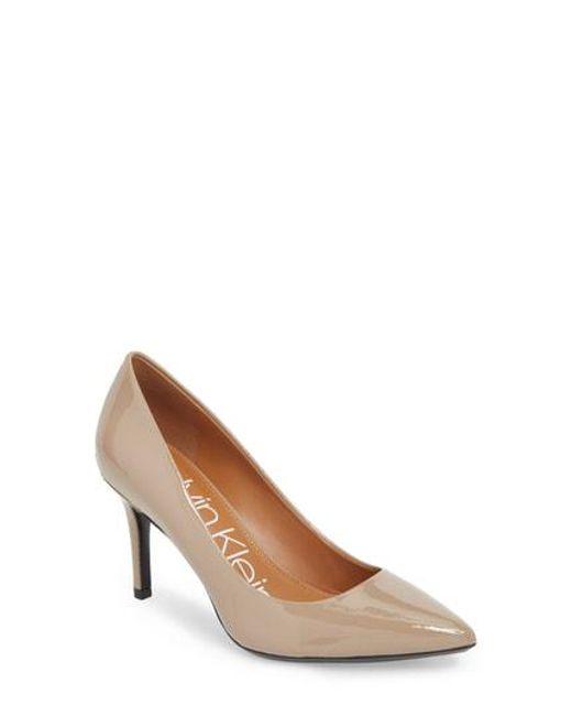 Calvin Klein - Brown 'gayle' Pointy Toe Pump - Lyst