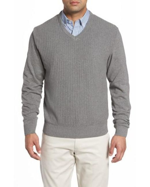 Cutter & Buck - Gray Bryant V-neck Sweater for Men - Lyst