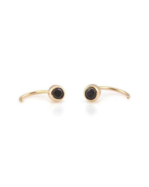 Kris Nations - Metallic Tiny Stone Hoop Earrings - Lyst