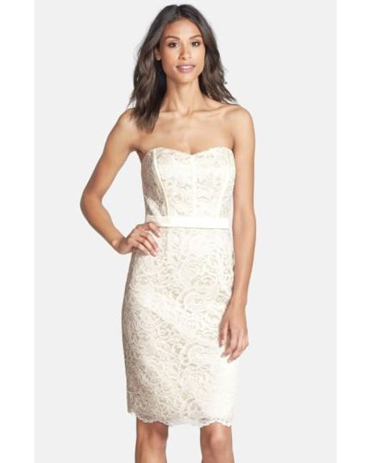 Dessy Collection | White Strapless Lace Overlay Matte Satin Dress | Lyst