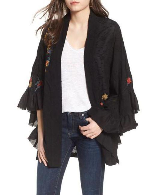 Free People - Black Dottie West Kimono - Lyst