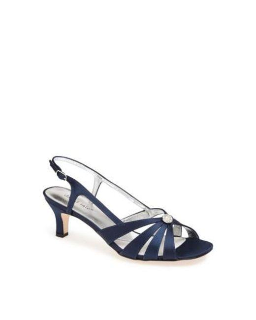David Tate | Blue Rosette Embellished Sandals | Lyst