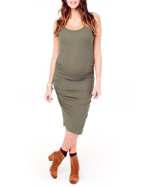 Ingrid & Isabel - Green Ingrid & Isabel Shirred Midi Maternity Tank Dress - Lyst