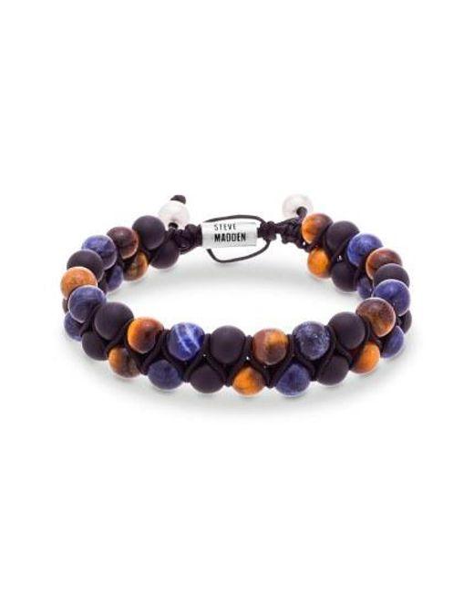 Steve Madden - Blue Tiger's Eye & Lapis Bracelet for Men - Lyst