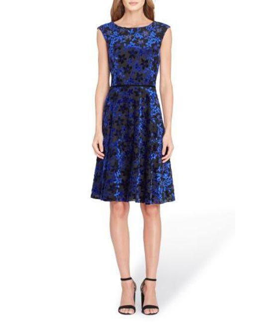 Tahari | Blue Flocked Velvet A-line Dress | Lyst