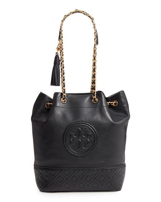 8cf28ffabba Tory Burch Fleming Leather Bucket Bag in Black - Lyst
