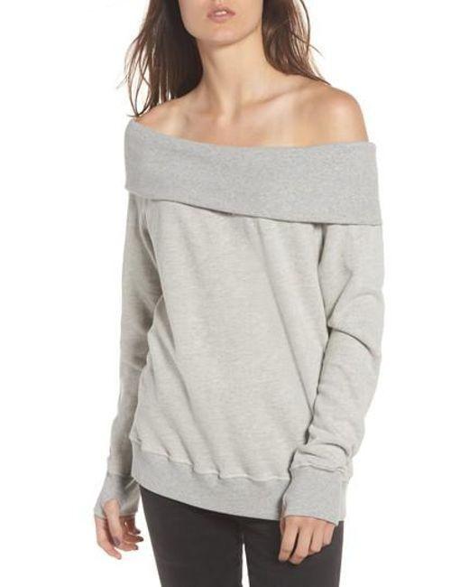 Pam & Gela | Gray Off The Shoulder Sweatshirt | Lyst