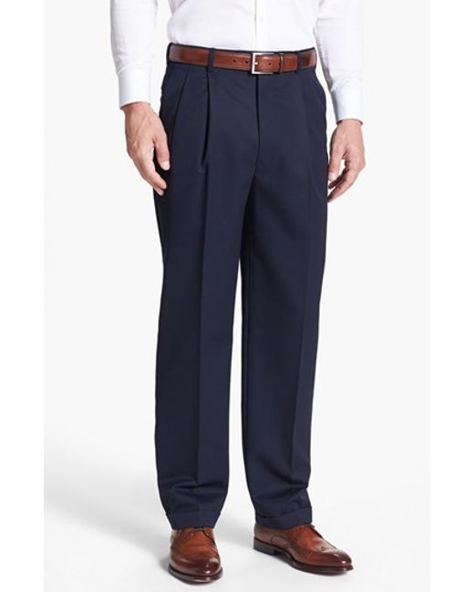 JB Britches | Blue Pleated Super 100s Worsted Wool Trousers for Men | Lyst