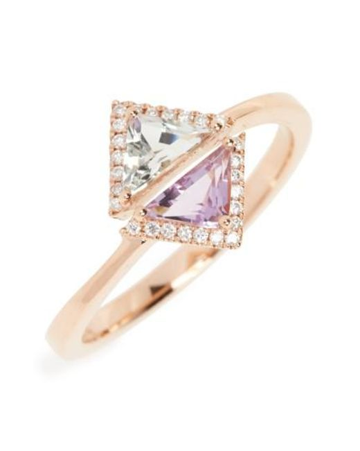 Bony Levy   Blue Iris Double Triangle Diamond & Semiprecious Stone Ring (nordstrom Exclusive)   Lyst