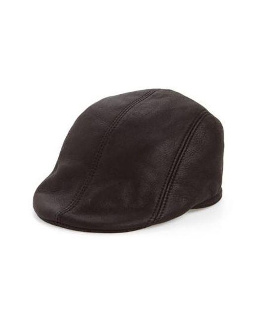 Crown Cap | Black Genuine Shearling Leather Driving Cap for Men | Lyst