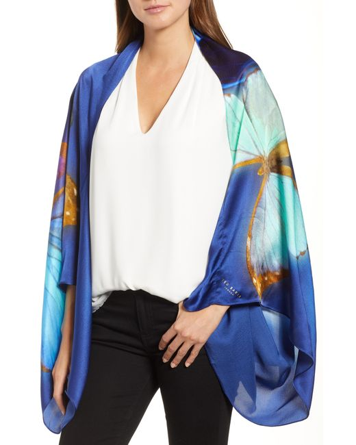 Ted Baker - Blue Butterfly Silk Cape Scarf - Lyst