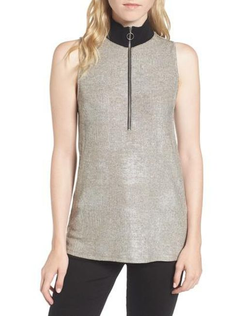 Trouvé   Gray Metallic Knit Mock Neck Top   Lyst