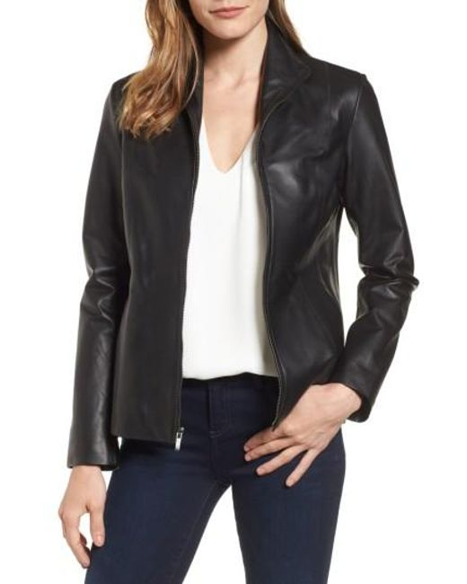 Cole Haan | Black Lambskin Leather Scuba Jacket | Lyst