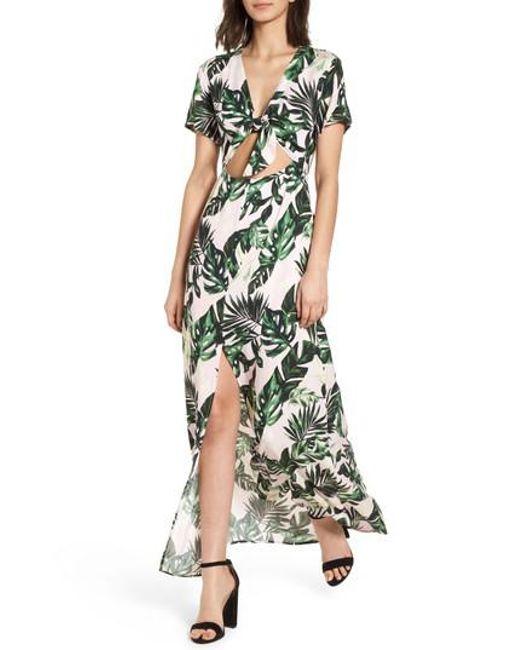 Lush - Green Cutout Tie Front Maxi Dress - Lyst