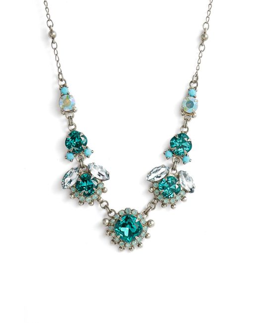 Sorrelli - Blue Sunflower Crystal Necklace - Lyst