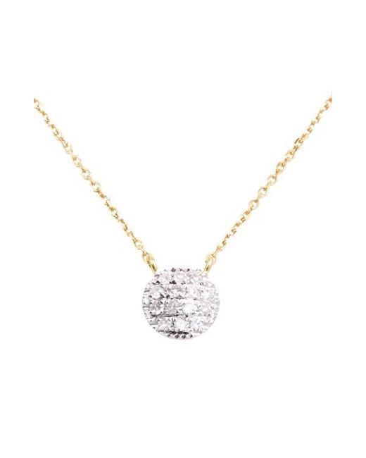 Dana Rebecca | Pink 'lauren Joy' Diamond Disc Pendant Necklace | Lyst