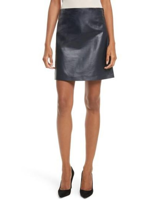 Theory | Blue Micro Mini Paper Leather Skirt | Lyst
