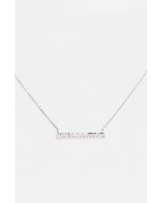 Dana Rebecca | White 'sylvie Rose' Medium Diamond Bar Pendant Necklace | Lyst