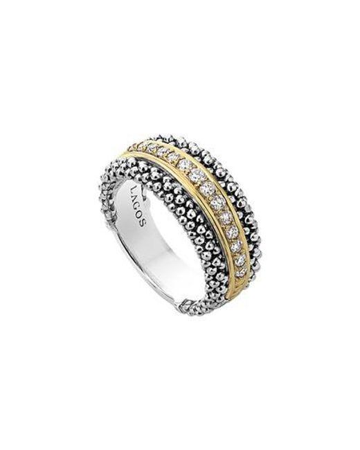 Lagos - Metallic Diamonds & Caviar Ring - Lyst