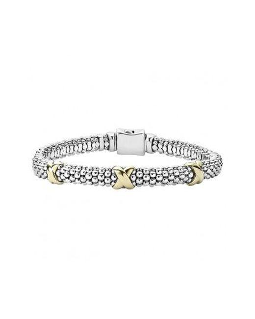 Lagos - Metallic 'signature Caviar' Two-tone Mini Oval Rope Bracelet - Lyst