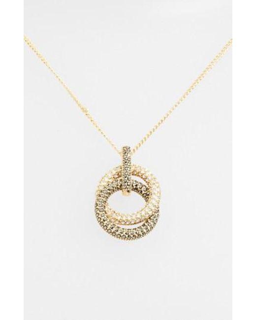 Judith Jack | Metallic Pave Double Circle Pendant Necklace | Lyst