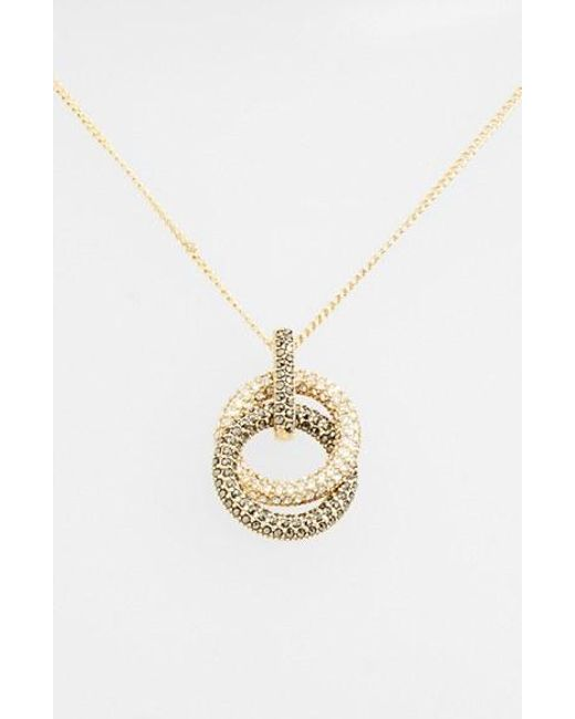 Judith Jack | Metallic Pave Double Circle Pendant Necklace | Lyst