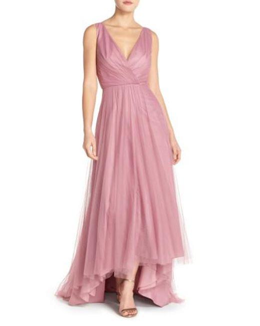 Monique Lhuillier Bridesmaids | Red High-Low Tulle Dress | Lyst