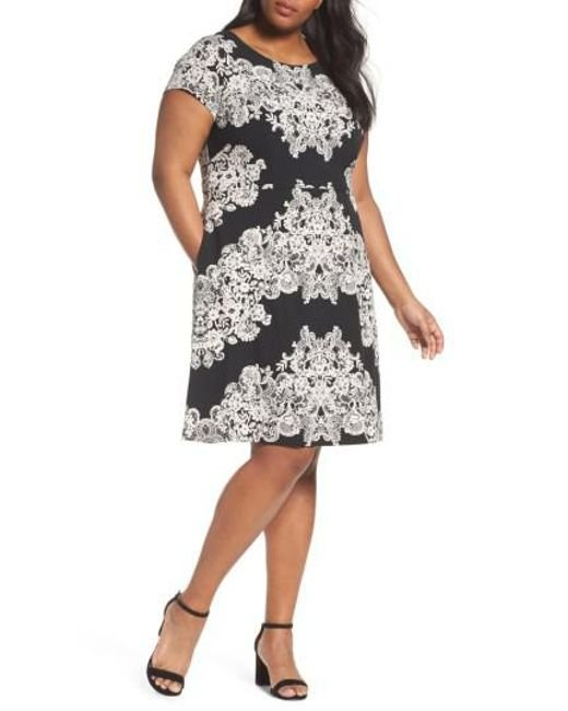 Adrianna Papell | Black Print Fit & Flare Dress | Lyst