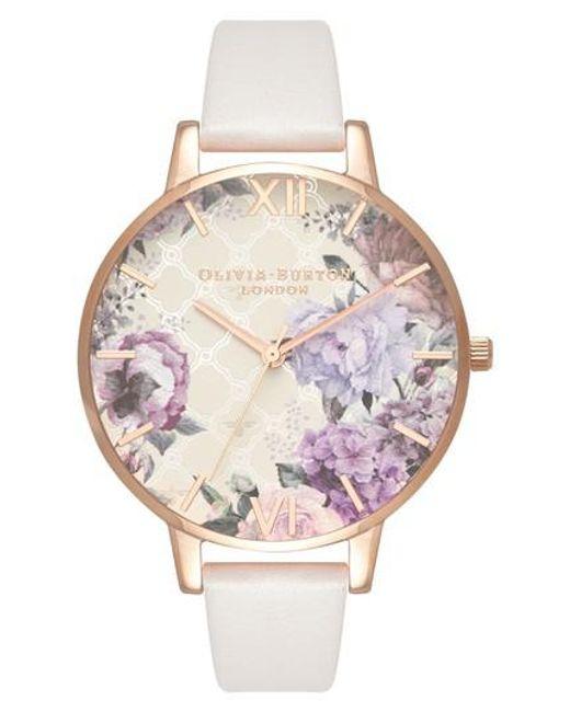 Olivia Burton - Pink Glasshouse Leather Strap Watch - Lyst