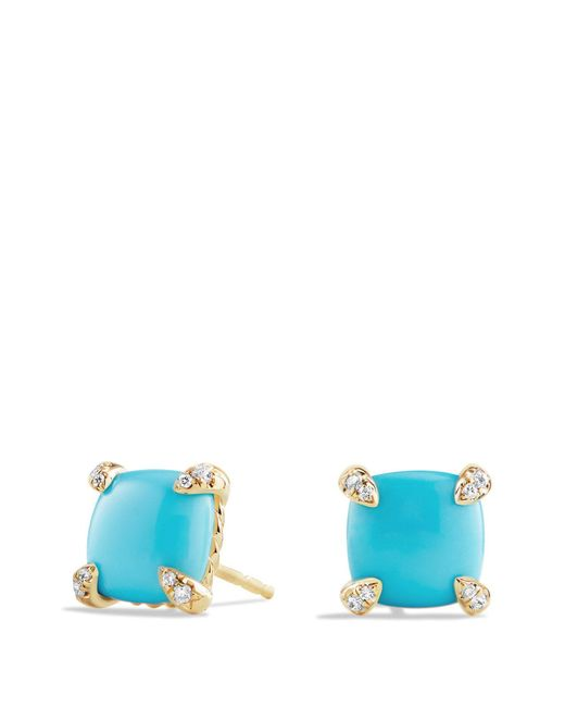 David Yurman - Blue 'chatelaine' Earrings With Semiprecious Stones In 18k Gold - Lyst