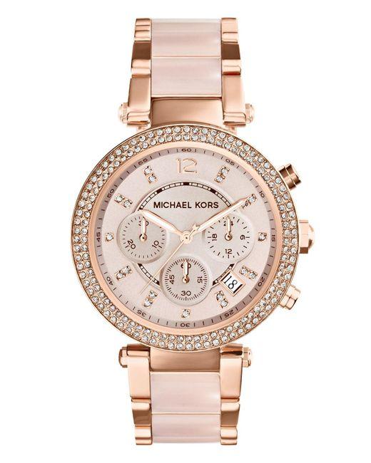 dda52994673d Michael Kors - Pink Michael Kors  parker  Blush Acetate Link Chronograph  Watch