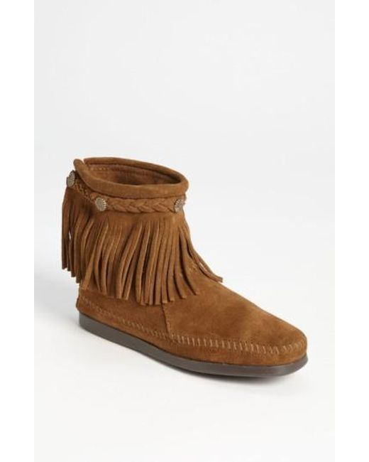 Minnetonka   Brown Fringed Moccasin Bootie   Lyst
