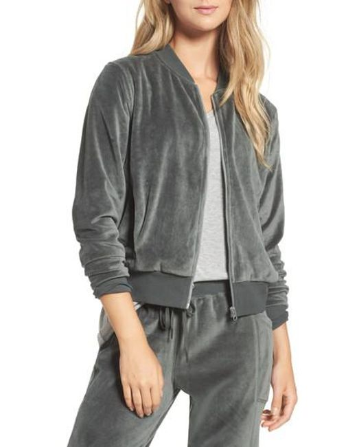 Zella | Gray Street To Studio Velour Bomber Jacket | Lyst