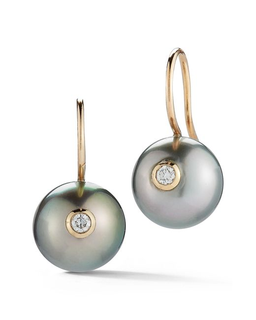 Mizuki - Metallic Black Pearl & Diamond Drop Earrings - Lyst