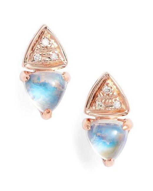 Dana Rebecca | Blue Diamond & Stone Stud Earrings | Lyst